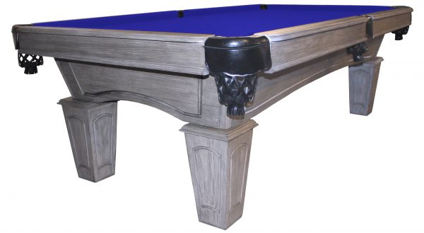 Heritage Rustic Grey pool table with euro blue cloth